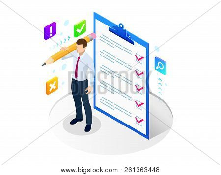 Isometric Businessman With Checklist And To Do List. Clipboard With A Checklist. Project Management,