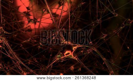 3d Rendering Of Artificial Intelligence. Networks Of Artificial Nerve Cells And Synapses In The Brai