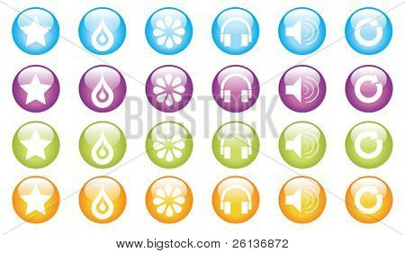 group of glossy shapes/icons