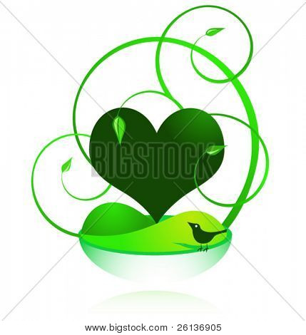 Green Earthy Heart and Bird