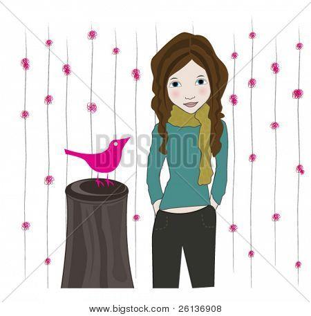 Lovely Brunette and Bird