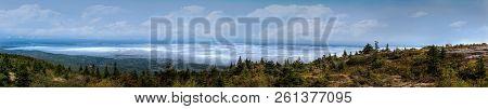 Cadillac Mountain Panorama Overlooking Bar Harbor - Maine, Usa