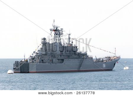 military ship over white