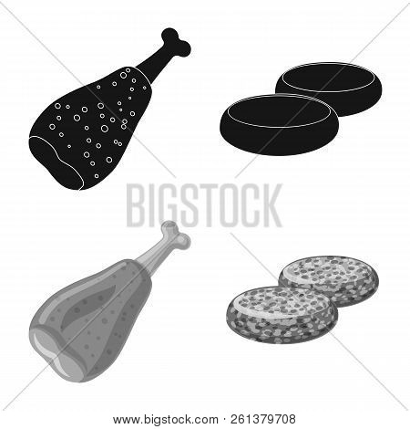 Vector Design Of Meat And Ham Symbol. Set Of Meat And Cooking Stock Vector Illustration.