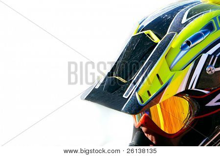 close up portrait of racer in helmet over white