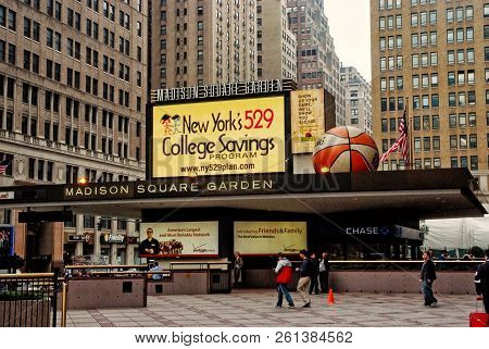 New York, Usa - November 13, 2008: Entrance Marquee Of Madison Square Garden Arena, With Billboards
