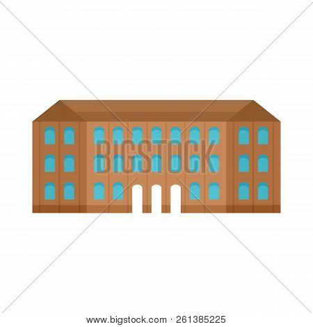Historical Vintage Old Building Icon. Flat Illustration Of Historical Vintage Old Building Icon For