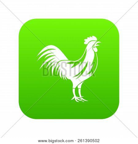 Gallic Rooster Icon Digital Green For Any Design Isolated On White Vector Illustration