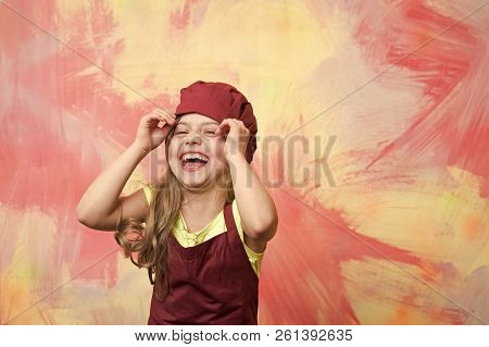 Chef Kid. Chef Kid Or Happy Little Girl Cook In Red Chef Hat And Apron On Colorful Abstract Backgrou