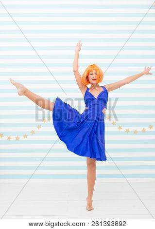 Sensual Girl Dancing Contemporary Dance. Dancer Girl Crazy About Dancing. Sporty Performer Pose As B