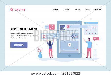 Vector Web Site Linear Art Design Template. Mobile Phone App Development. Landing Page Smartphone Ap