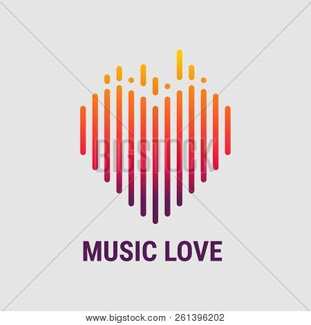 Musical Waves In The Shape Of A Heart. Logo Template. Musical Equalizer. Vector Illustration