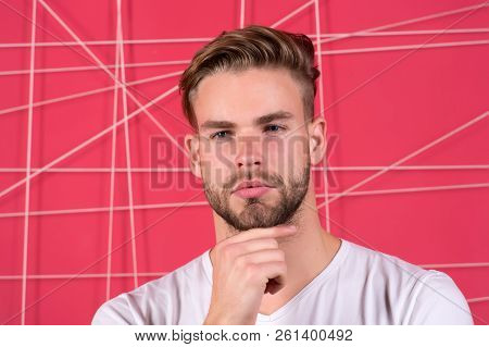 Use right product styling hair. Confident with tidy hairstyle. Barber hairstyle tips. Man bearded guy modern hairstyle in pensive mood pink background. Simple hacks to make hairstyle better. poster