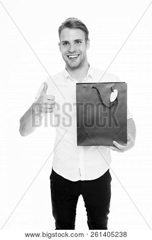Guy Satisfied Carries Bag And Shows Thumb Up. Man Happy Client Received Package Purchase. Delivery S