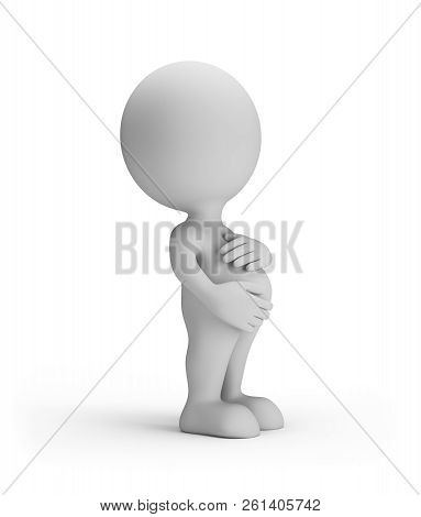 3d Woman Is Pregnant. 3d Image. White Background.
