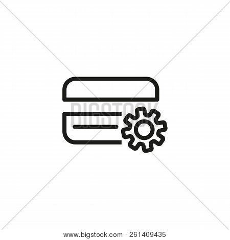 Credit Card Setting Line Icon. Setup, Credit Card Account, Atm. Credit Card Concept. Vector Illustra