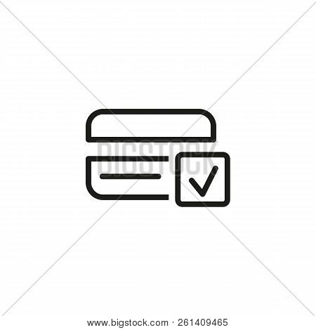 Credit Card Verification Line Icon. Accept, Approved Payment, Transaction. Credit Card Concept. Vect