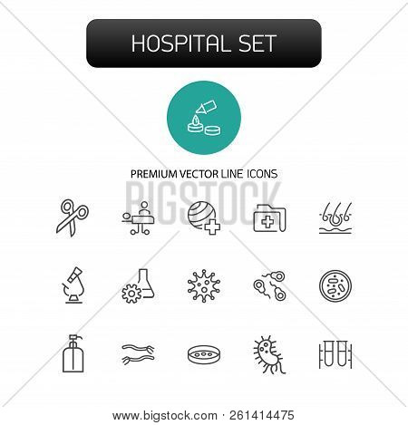 Hospital Icons. Set Of Line Icons. Surgery, Operating Room, Laboratory. Medicine Concept. Vector Ill