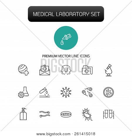 Medical Laboratory Icons. Set Of Line Icons. Urgent Help, Test, Pill. Medical Research Concept. Vect