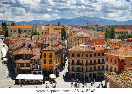 SEGOVIA, MADRIS, SPAIN - JULY 24, 2018: Architecture of Segovia medieval cuty, Spain, Europe