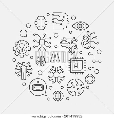 Ai Concept Round Illustration. Artificial Intelligence Vector Outline Icons In Circle Shape