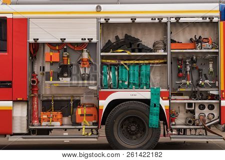 View Of Neatly Fixed Equipment For Fire Fighting.