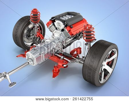 Suspension Of The Car With Wheel And Engine Undercarriage In Detail Isolated On Blue Gradient Backgr