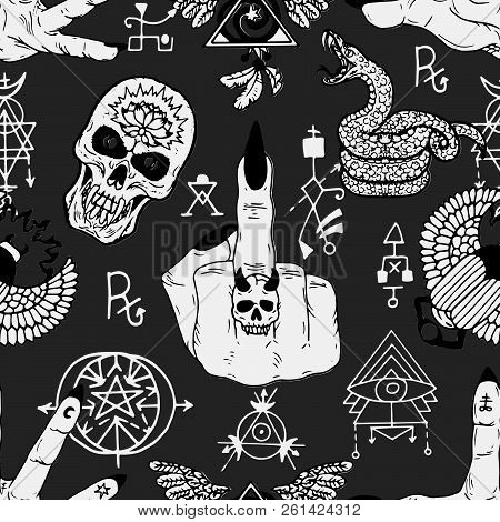 Magician Fingers, Fuck You Symbol, Skull And Mysterious Objects. Seamless Pattern. Esoteric, Occult