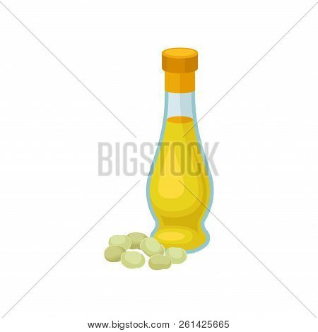Glass Bottle Of Soya Oil, Healthy Vegetarian Food Vector Illustration On A White Background