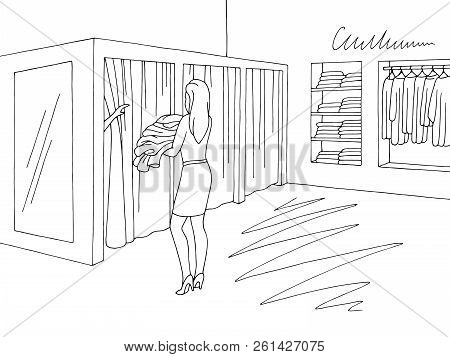 Seller Carrying Clothes To Buyer In Fitting Room.  Shop Interior Graphic Black White Sketch Illustra