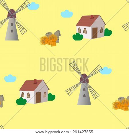 Yellow Seamless Pattern With Windmills, Cottadges, Jute Sacks And Sheafs Of Wheat Or Barley. Vector