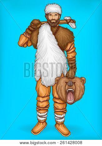 Vector Pop Art Caveman In Fur Pants, White Hat And Footwear. Hunter Holds Wild Bear Head, Prey. Nean