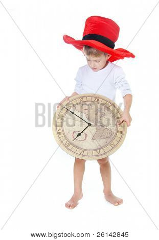 cute child in big hat with clocks over white
