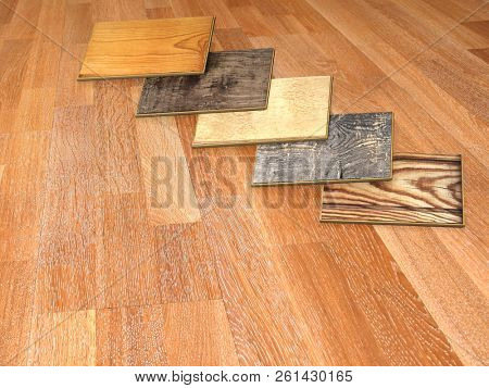 New planks of oak parquet of different colors with rustic texture on wooden floor. 3d render