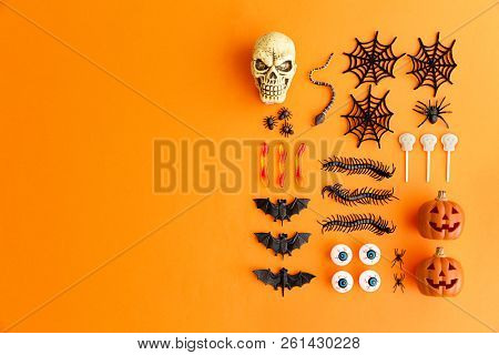Collection of Halloween objects with copy space to side