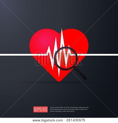 Heart Cardiology. Heartbeat Or Beat Pulse Search Icon. Danger Heart Attack Symbol. World Heart Day C