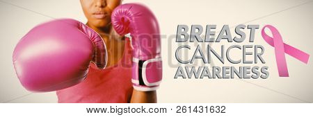 Breast cancer awareness message against woman fighting for breast cancer awareness
