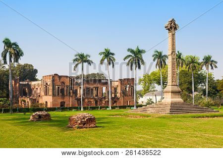 Museum And The High Cross Sir Henry Lawrence Memorial At The British Residency In Lucknow, India