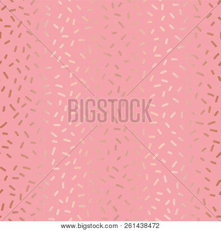Rose Gold Copper Foil On Pink Sprinkles Seamless Repeat Vector Pattern. Elegant Luxury Metallic Shin