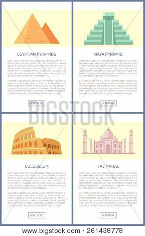 Egyptian Pyramids And Colosseum Set Of Web Pages, Mayan Architecture, Taj Mahal Built To Honour Mumt