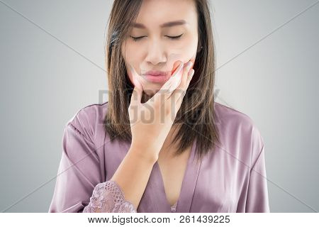 Temporomandibular Joint And Muscle Disorder: Tmd, Suffering From Toothache. Beautiful Young Woman Su