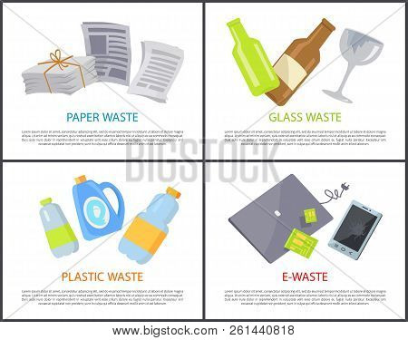 Paper Glass Plastic And E-waste Set Of Banners, Isolated On White Sample Of Various Rubbish, Bottles