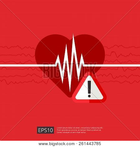 Danger Heart Attack Alert Symbol. Heartbeat Or Beat Pulse Icon. Heart Care Cardiology. World Heart D
