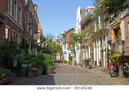 A quaint back alley in the center of Haarlem, the Netherlands, full of flowers and bicycles. As if time has come to a standstill.