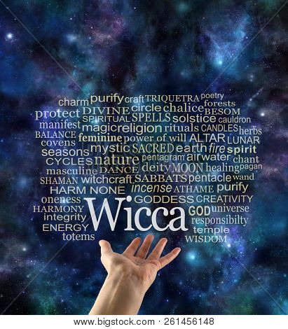Harm None Cosmic Wicca Word Tag Cloud - female open palm hand with WICCA floating above and a relevant word cloud on a dark starry night sky background poster