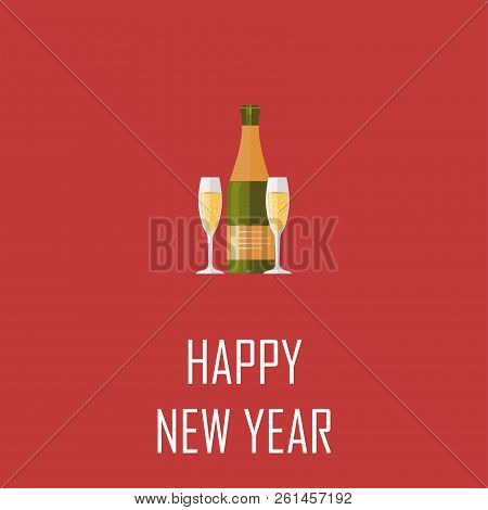 champagne bottle elegant glasses of yellow champagne with bubbles on red background happy new year and merry christmas 2019 ideal for holiday card or