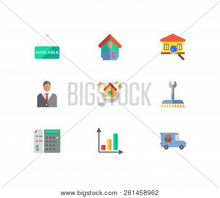 Real Estate Icons Set. Agent And Real Estate Icons With House Available, Tenant And Transfer Truck.