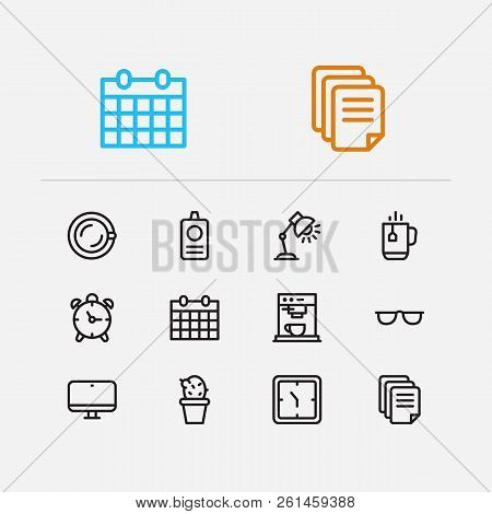Workspace Icons Set. Alarm And Workspace Icons With Coffee Machine, Coffee Mug And Computer. Set Of