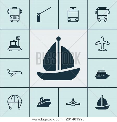 Transport Icons Set With Barrier, School Bus, Sail Ship And Other Transport Elements. Isolated Vecto