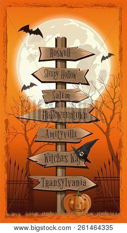 Halloween Design. Halloween Wood Board. Halloween Several Wooden Street Signs. Vintage Road Sign. Ve